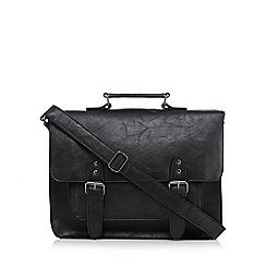 Red Herring - Black PU buckled satchel