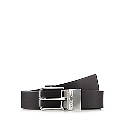 Calvin Klein - Black leather reversible pin buckle belt