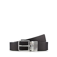 Calvin Klein - Black leather reversible pin buckle belt