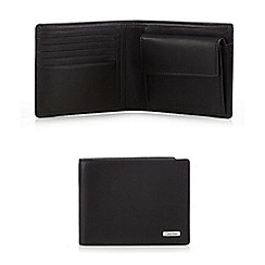 Calvin Klein - Black leather popper billfold wallet
