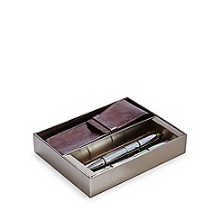 J by Jasper Conran - Tan leather case, pen and pencil set in a gift box