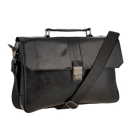 Jeff Banks - Designer black leather look briefcase