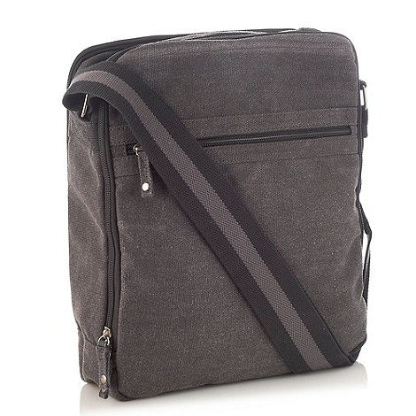 Mantaray - Dark grey zip top canvas bag