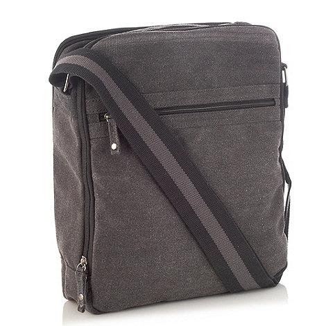 Mantaray - Dark grey zip top canvas bag