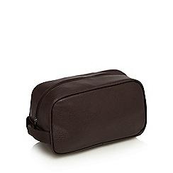 The Collection - Dark brown zip around wash bag