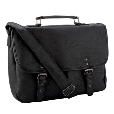red herring Black two pocket satchel bag