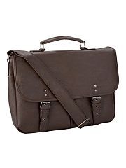 Brown two pocket satchel bag
