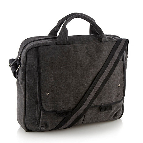 Mantaray - Dark grey canvas laptop bag
