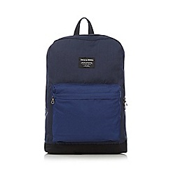 Jack & Jones - Navy colour block canvas backpack