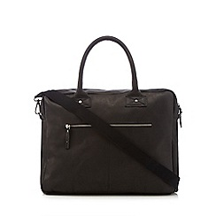 Jack & Jones - Black leather briefcase