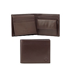 Jeff Banks - Brown leather debossed logo wallet in a gift box