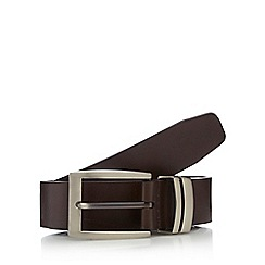 The Collection - Big and tall brown leather metal keeper belt