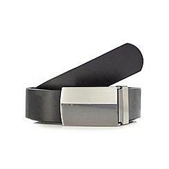 The Collection - Big and tall black leather reversible plate buckle belt