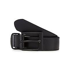 The Collection - Big and tall black leather matte buckle belt