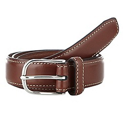 Maine New England - Big & tall brown edge stitch belt