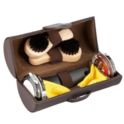 rocha john rocha Brown leather shoe shine kit