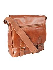 Designer tan two buckle leather utility bag