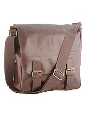 Designer brown leather utility bag