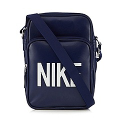 Nike - Navy logo print flight bag