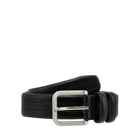 Maine New England - Black coated bonded leather double keeper belt with stitch detail
