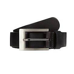 J by Jasper Conran - Big and tall designer black italian brushed rectangular buckle belt