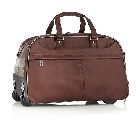 J by Jasper Conran - Designer brown wheeled leather holdall