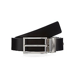 Jeff Banks - Black reversible leather buckle belt