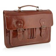 Designer brown leather satchel bag