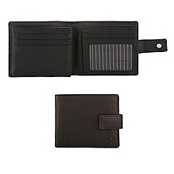 Jeff Banks - Designer black tab fastened leather wallet