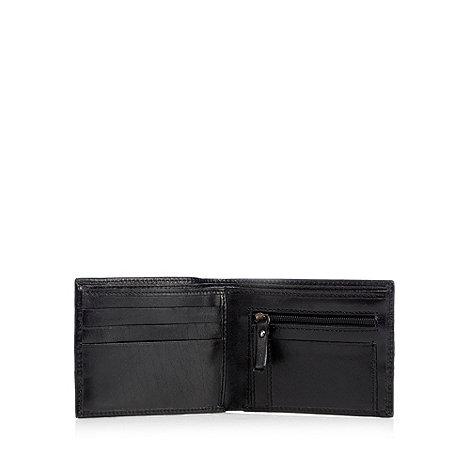 Jeff Banks - Black leather popper fasten wallet in a gift box