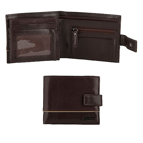 Jeff Banks - Brown piped trim leather wallet