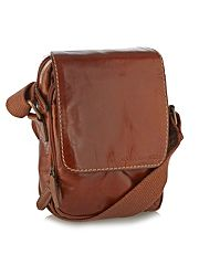 Designer tan small leather cross body bag