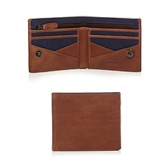 Mantaray - Brown leather canvas wallet