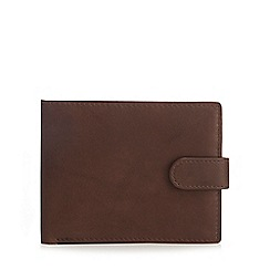 Mantaray - Brown leather canvas ID wallet