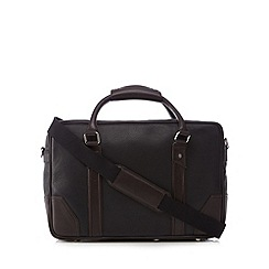 Jeff Banks - Black leather contrast detail holdall bag