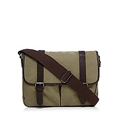 Red Herring - Khaki washed canvas satchel bag