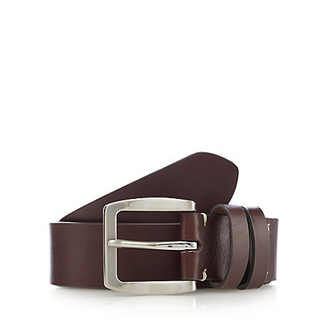 Jeff Banks - Designer brown leather contrast stitch detail belt