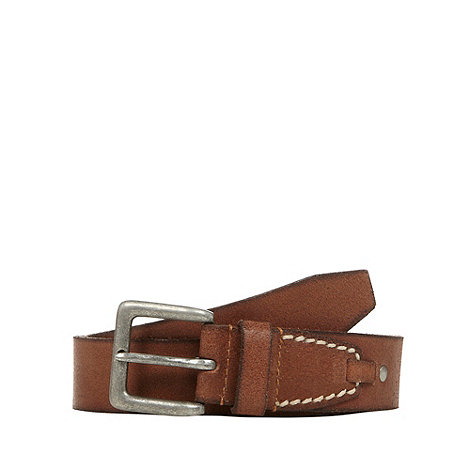 Mantaray - Brown top stitched tab detail leather belt