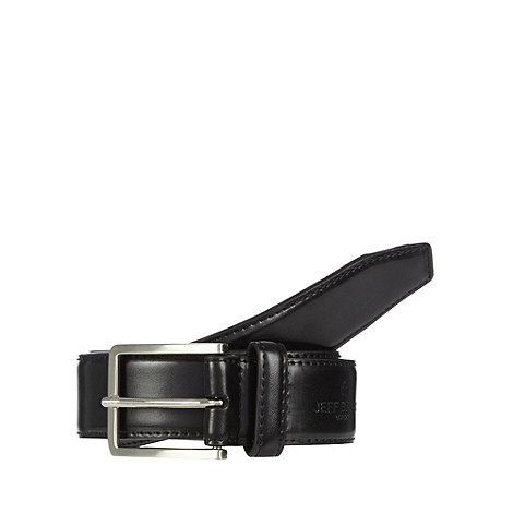 Jeff Banks - Designer black logo debossed coated leather belt