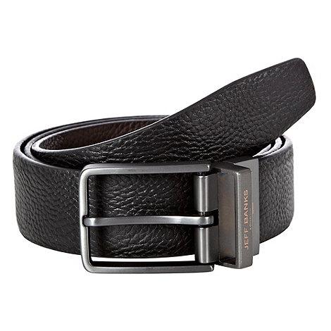 Jeff Banks - Designer black grained leather reversible belt
