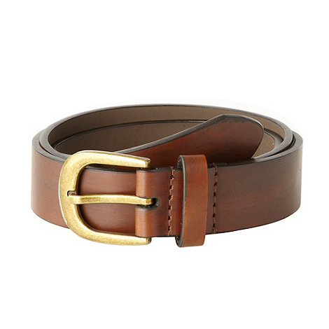 Red Herring - Brown skinny leather horseshoe buckle belt