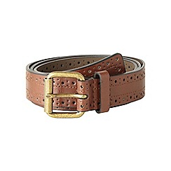 Red Herring - Tan skinny leather brogue belt