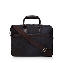 Jeff Banks - Dark grey wool blend two handle briefcase