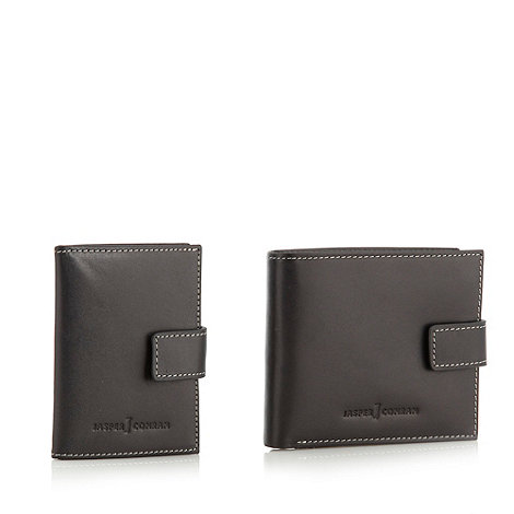 J by Jasper Conran - Designer black leather wallet and card holder set