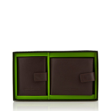 J by Jasper Conran - Designer brown leather wallet and card holder set