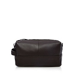 RJR.John Rocha - Dark brown leather wash bag