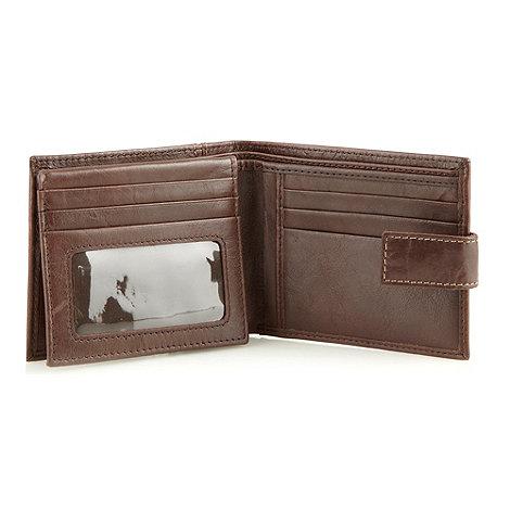 RJR.John Rocha - Designer brown stressed leather tab wallet