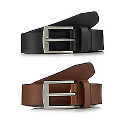 The Collection - Pack of two black and brown leather belts