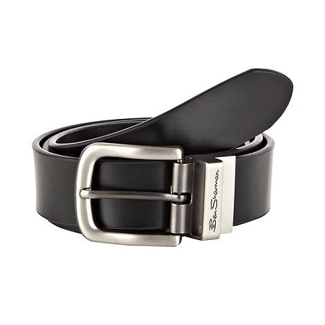 Ben Sherman - Black leather reversible buckle belt