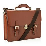 Designer brown triple clasped leather briefcase